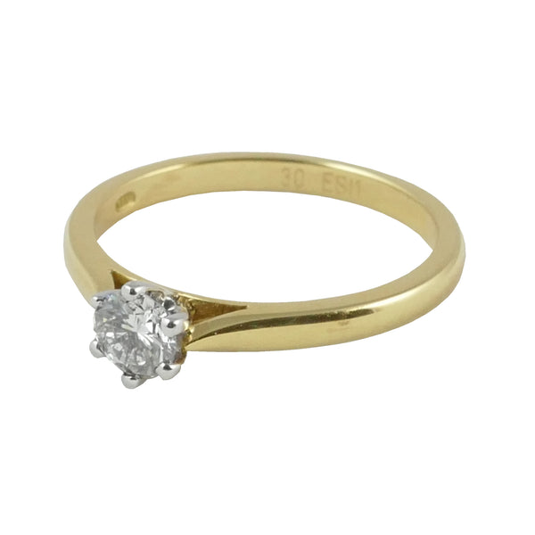 18ct Yellow Gold Diamond Solitaire Engagement Ring, 0.30ct