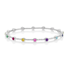 Sterling Silver Round Multi-Coloured Gemstone Twinkle Bangle
