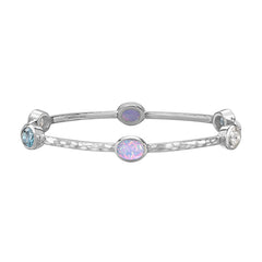 Sterling Silver Oval Opal, Aquamarine & White Topaz Twinkle Bangle