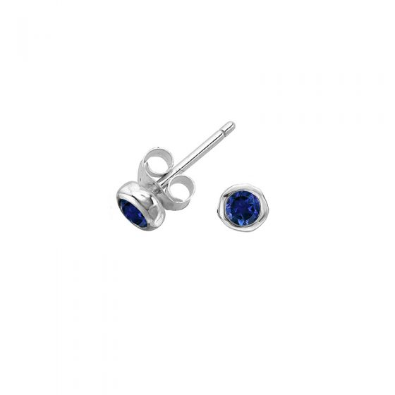 Sterling Silver 2.5mm Blue Sapphire Twinkle Stud Earrings