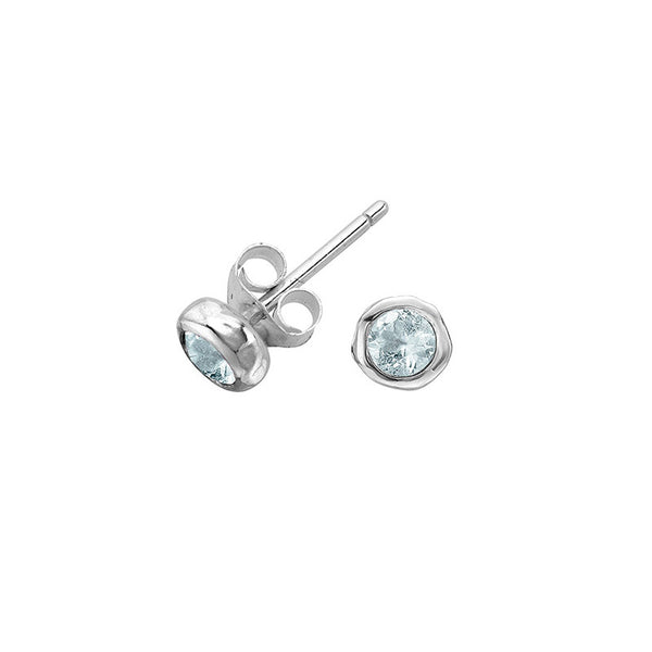 Sterling Silver 3mm Aquamarine Twinkle Stud Earrings