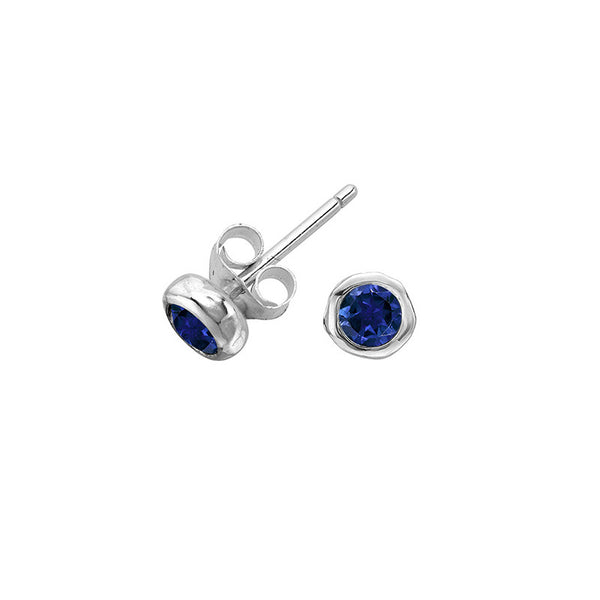 Sterling Silver 3mm Blue Sapphire Twinkle Stud Earrings
