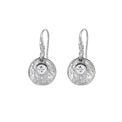 Sterling Silver Hammered Disc & White Topaz Twinkle Drop Earrings