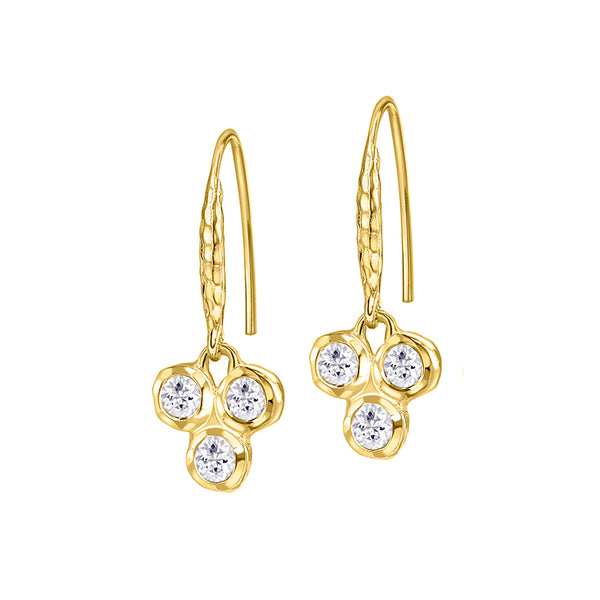 18ct Gold Vermeil White Topaz Twinkle Trio Drop Earrings