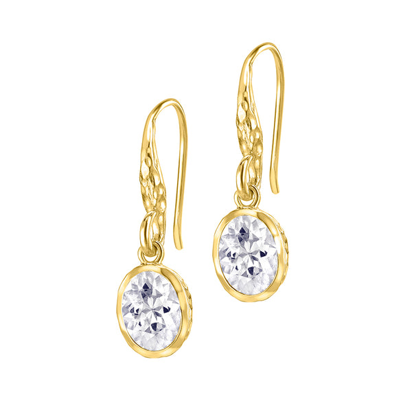 18ct Gold Vermeil Oval White Topaz Twinkle Drop Earrings