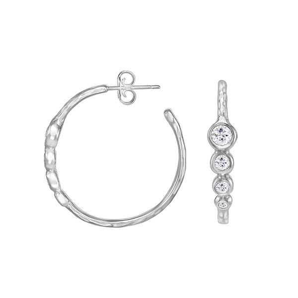 Sterling Silver White Topaz Twinkle Hoop Earrings
