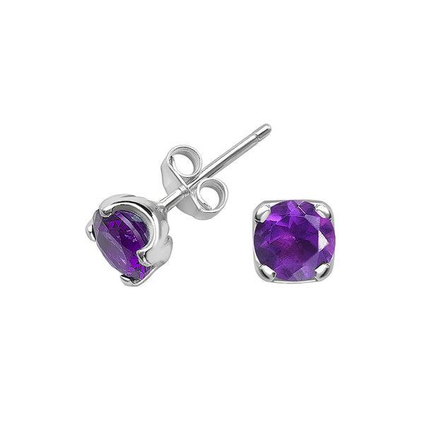 Sterling Silver 6mm Amethyst Claw-Set Twinkle Studs
