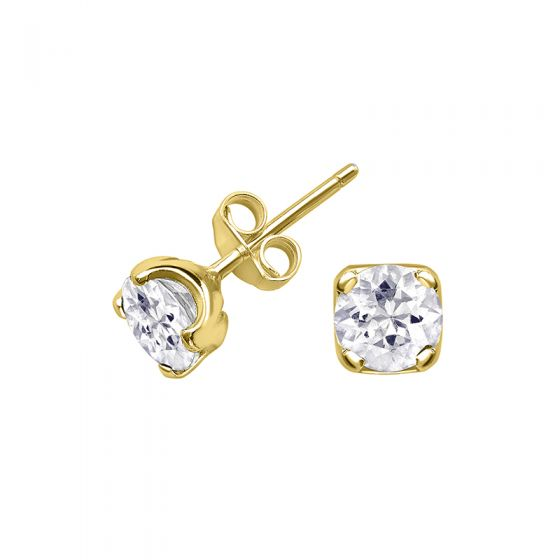 18ct Yellow Gold Vermeil 6mm White Topaz Claw-Set Twinkle Studs