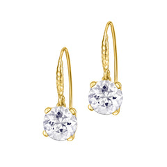 18ct Gold Vermeil 8mm White Topaz Claw-Set Twinkle Drop Earrings