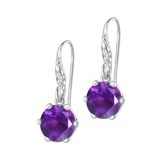 Sterling Silver 10mm Amethyst Claw-Set Twinkle Drop Earrings