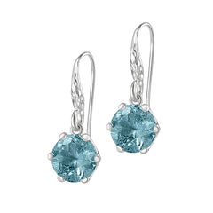 Sterling Silver 10mm Aquamarine Claw-Set Twinkle Drop Earrings