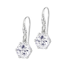 Sterling Silver 10mm White Topaz Claw-Set Twinkle Drop Earrings