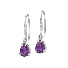 Sterling Silver Pear Cut Amethyst Claw-Set Twinkle Drop Earrings