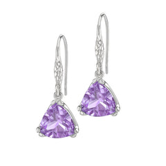 Sterling Silver Trillion Cut Amethyst Claw-Set Twinkle Drop Earrings
