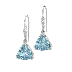 Sterling Silver Trillion Cut Aquamarine Claw-Set Twinkle Drop Earrings