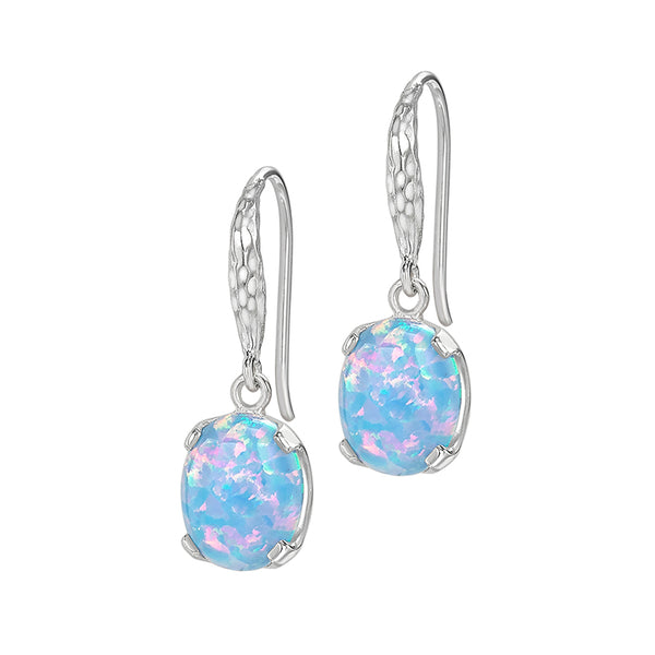 Sterling Silver Oval Opal Claw-Set Twinkle Drop Earrings