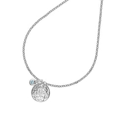 Sterling Silver Hammered Disc & Aquamarine Twinkle Pendant
