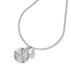 Sterling Silver Hammered Disc & 5mm White Topaz Twinkle Pendant