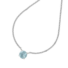 Sterling Silver 8mm Round Aquamarine Claw-Set Twinkle Pendant