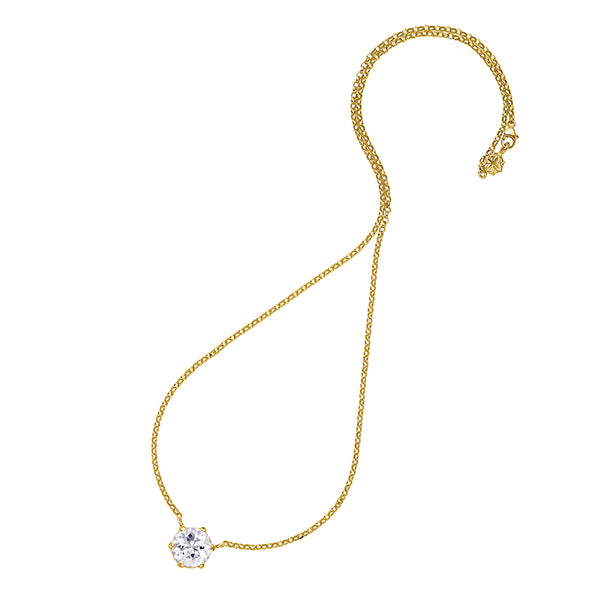 18ct Gold Vermeil 10mm Round White Topaz Claw-Set Twinkle Pendant