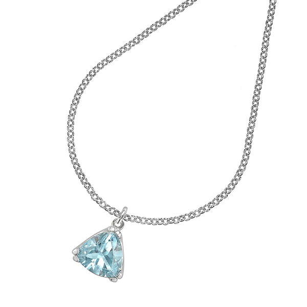 Sterling Silver Trillion Cut Aquamarine Claw-Set Twinkle Pendant