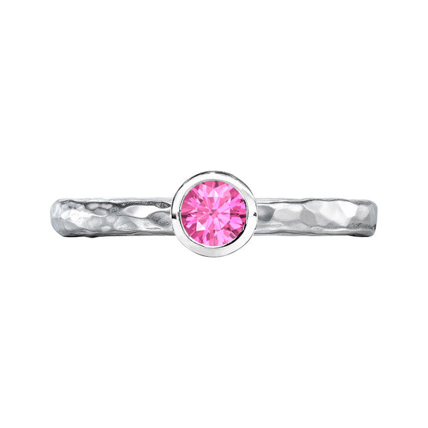 Sterling Silver 4mm Pink Sapphire Hammered Twinkle Ring