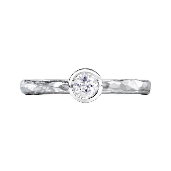 Sterling Silver 4mm White Sapphire Hammered Twinkle Ring