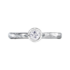 Sterling Silver 4mm White Topaz Hammered Twinkle Ring