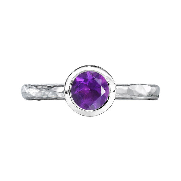 Sterling Silver 6mm Amethyst Hammered Twinkle Ring
