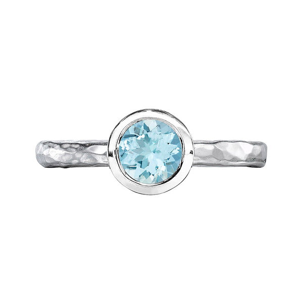 Sterling Silver 6mm Aquamarine Hammered Twinkle Ring