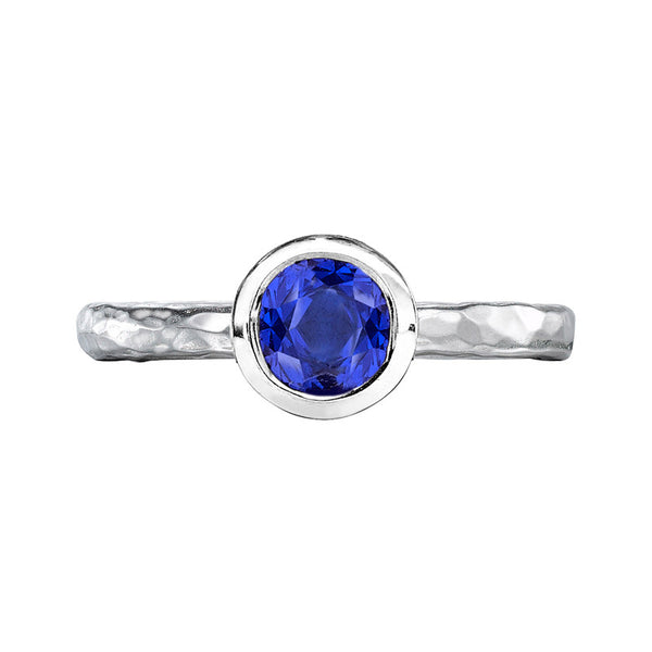 Sterling Silver 6mm Blue Spinel Hammered Twinkle Ring