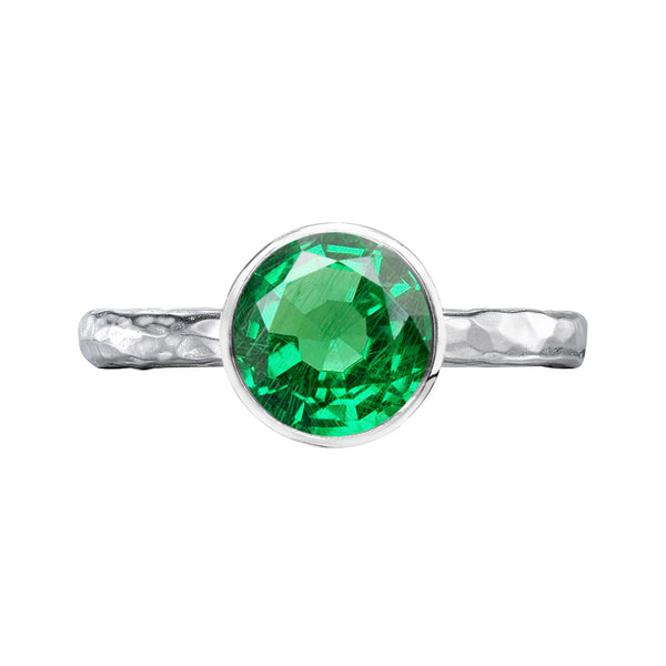 Sterling Silver 8mm Green Garnet Hammered Twinkle Ring