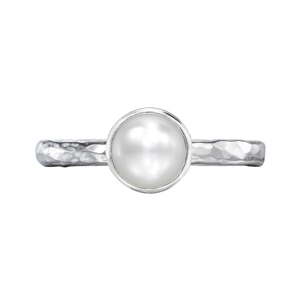 Sterling Silver 6mm White Pearl Hammered Twinkle Ring