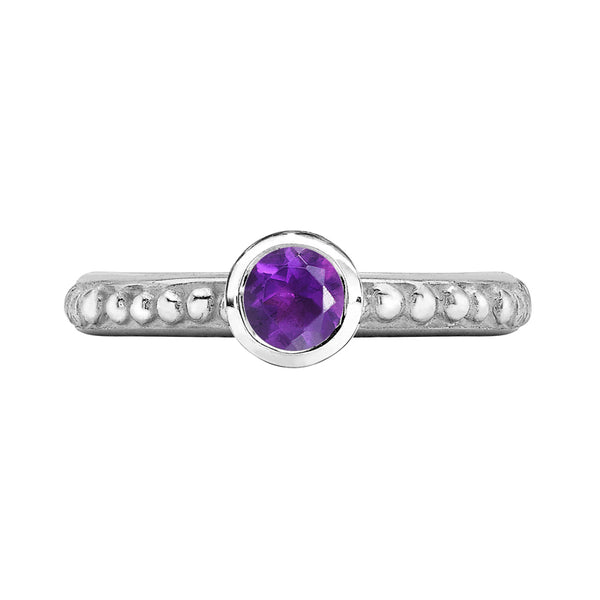 Sterling Silver 5mm Amethyst Granular Dotty Twinkle Ring