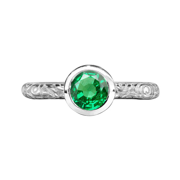 Sterling Silver 5mm Green Garnet Spiral Twinkle Ring