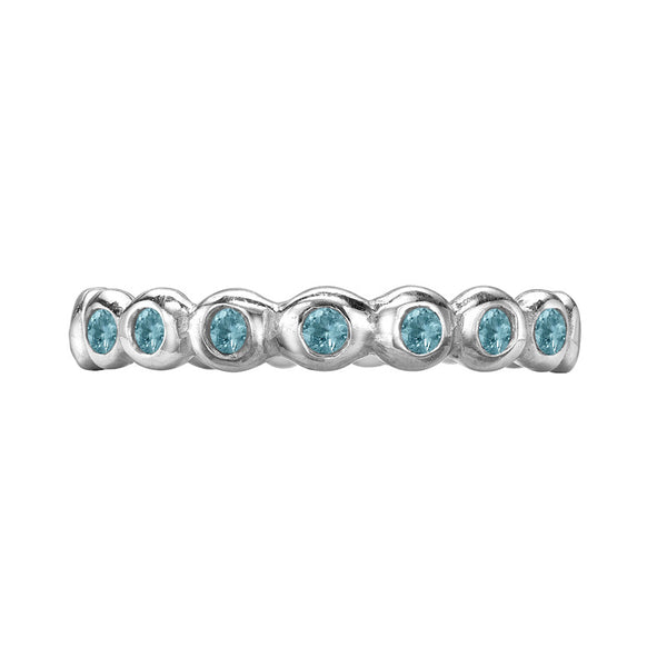 Sterling Silver 3mm Aquamarine Dotty Twinkle Ring