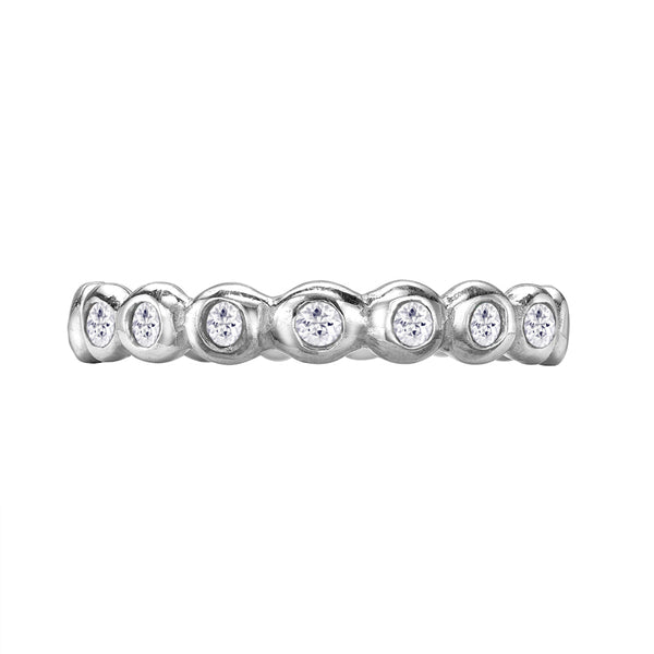 Sterling Silver 3mm White Sapphire Dotty Twinkle Ring