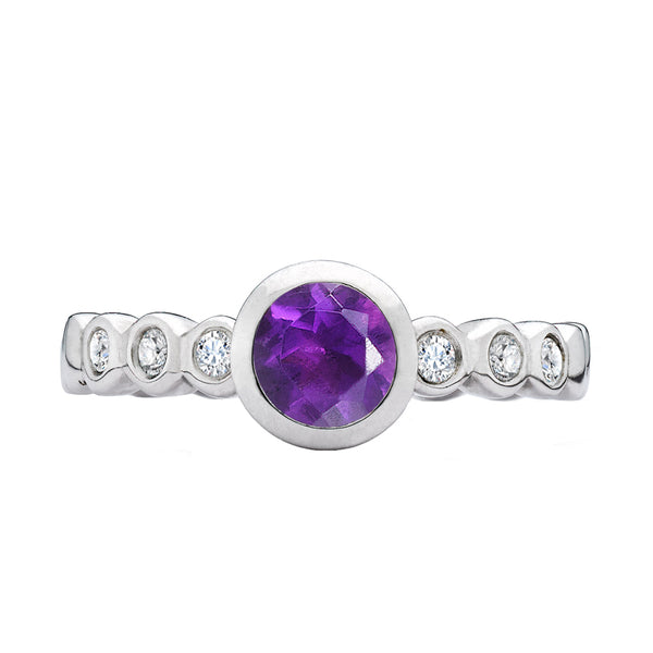 Sterling Silver 5mm Amethyst Dewdrop Twinkle Ring