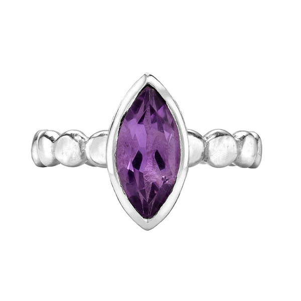 Sterling Silver Marquise Amethyst Dewdrop Twinkle Ring