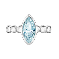 Sterling Silver Marquise Aquamarine Dewdrop Twinkle Ring