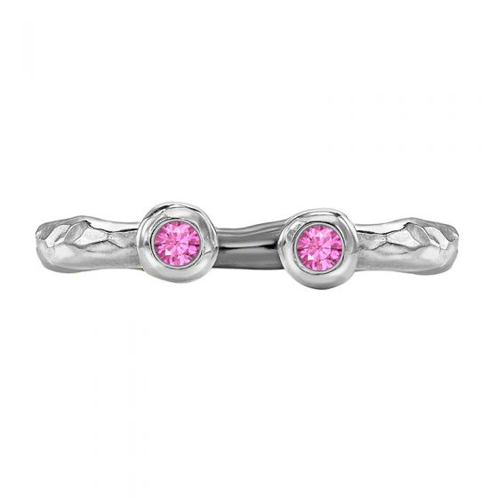 Sterling Silver Double Pink Sapphire Hammered Twinkle Ring