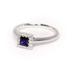 18ct White Gold Sapphire & Diamond Ring, 0.39ct