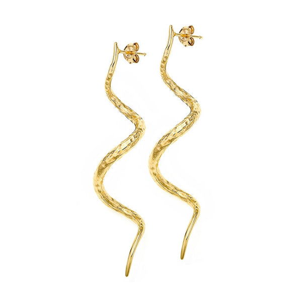18ct Gold Vermeil Large Beaten Curl Drop Earrings