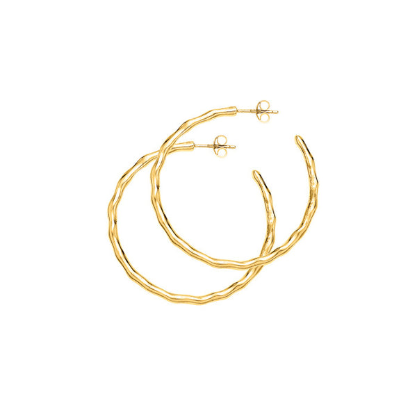 18ct Gold Vermeil Medium Ripple Hoops