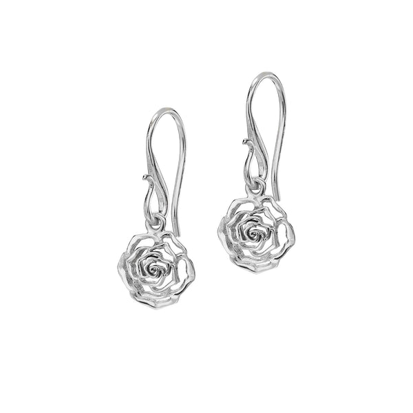 Sterling Silver 10mm Wild Rose Flower Drop Earrings