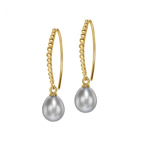 18ct Gold Vermeil Dove Grey Pearl Dotty Drop Earrings
