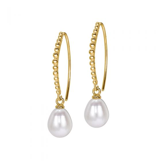 18ct Gold Vermeil White Pearl Dotty Drop Earrings