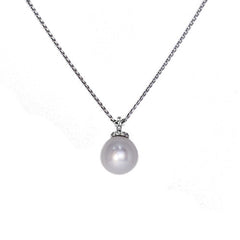 18ct White Gold Diamond Set South Sea Pearl Pendant, 0.37ct