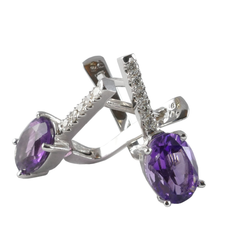 18ct White Gold Amethyst & Diamond Drop Earrings