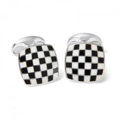 Sterling Silver Enamel Checkerboard Cufflinks in Black and White